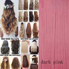 Long 100% Natural Clip in Hair Extension Half Full Head with 10% human hair lkkb