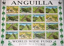 ANGUILLA 1997 Klb 988-91 MS 968 WWF Iguanas grüner Inselleguan Fauna Reptile MNH