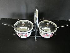 Enoch Wedgwood marmalade Dish Chrome Saucer, Lid & Spoon Pink Rose England Caddy