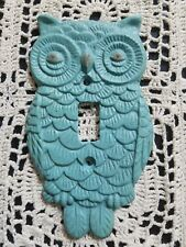 Turquoise Metal Owl Light Switch Plate w/ Aged Detail