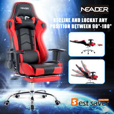 Office Desk Seat PU Leather Executive Racing Gaming Computer Footrest Chair Red