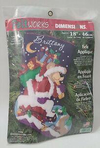 "Christmas Santa Bear FeltStocking Kit Felt Works Dimensions 18"" Craft #8094 NOS"