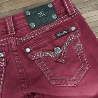 Miss Me Womens Cabernet Red Signature Rise Embellished Skinny Jeans 26