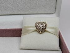 New Pandora w/Hinge Box 14Kt Gold Love & Appreciation Heart Charm 750837CZ