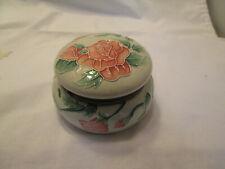 "Pink Rose Trinket Box Raised Relief Round Porcelain Hinged Trinket Box 3 3/4 """