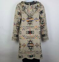 Northern Angel Hooded Open Front Cardigan Duster Sweater Rainbow Aztec Sz S