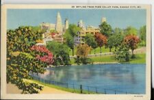 skyline from penn valley park kansas city mo postcard 1940s era