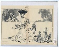 Rare Antique Original Vintage 1904 Life Mag Woman Tricks Illustration Art Print