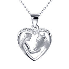 Girl and Horse Head Love Heart Pendant 925 Sterling Silver Jewelry Necklace 18""