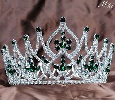 Wedding Emerald Tiara Crown Rhinestones Bridal Headband Pageant Party Costumes