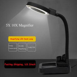 Large Lens Lighted Lamp  Desk Magnifier Magnifying Glass With 40 LED Light US