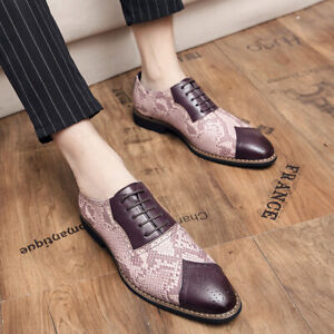 Mens Business Pointy Toe Wedding British Faux Leather Brogue Patchwork Shoes