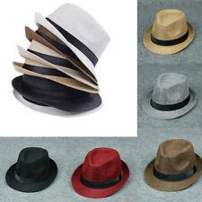 066acdca9a8e6 Men Women Summer Beach Sun Hat Unisex Jazz Panama Trilby Fedora Hat  Gangster Cap