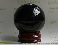 40mm Rare Natural Black Obsidian Sphere Large Crystal Ball Healing Stone+stand