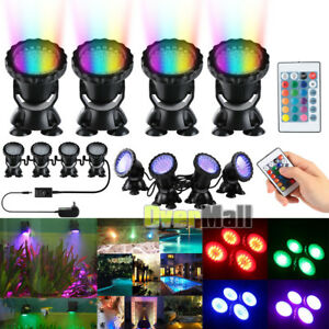 4 x Submersible 36 LED RGB Pond Spot Lights Underwater Pool Fountain IP68+Remote