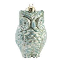 Light Blue Mercury Glass Owl Christmas Ornament