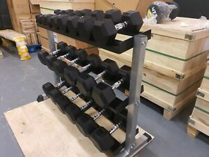 Nuke Fitness® Rubber Hex Dumbbells 4-25kg Set with 3 Tier Rack Gym Weights