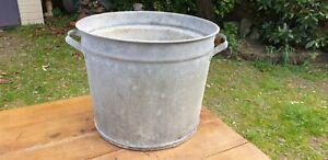 Genuine Vintage Galvanised Round Tub. Tree Garden Herb Planter, Container #116
