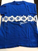 Vtg 90s Hanes Hawaii Hibiscus Flower T Shirt XL Blue Large Print Single Stitch
