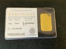 Heraeus Kinebar 10 Gramm 999.9 Gold Goldbarren Barren Schwarzer Blister