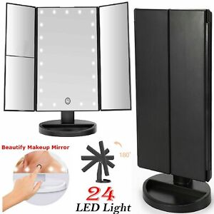 24 LED MIRROR VANITY LIGHT MAKEUP COSMETIC DRESSING TABLE MAGNIFYING TRIFOLD