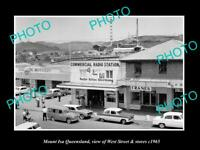 OLD POSTCARD SIZE PHOTO OF MOUNT ISA QUEENSLAND VIEW OF WETS ST & STORES c1965