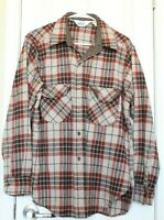 Vintage 60s Woolrich Wool Flannel Button Up Brown Red Plaid Hunting Mens Sz XL