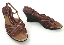 Sofft 10 M Heels Brown Gold Leather Cross Strap Strappy Slingback Wedge Sandals