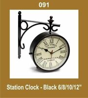 New Out Door Garden Station Wall Clock 10'' Nautical Black Roman Number