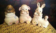 1987 Enesco Easter Train Set ~  Set of Three Bunny, Sheep, & Duck~ #113697 ~ NIB