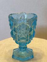 Vintage ICE AQUA BLUE FOOTED TOOTHPICK HOLDER, JOHN E KEMPLE?