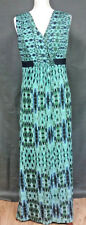 PER UNA Maxi Dress Blue Green Print Boho Tribal Long Ikat Summer Holiday UK 10