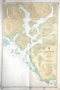 Vintage KYUQUOT Sound FAIR HARBOUR Nautical CHART VANCOUVER ISLAND Canada BC MAP