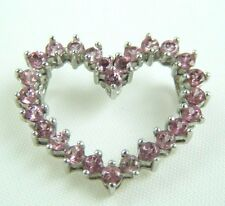 10 K  WHITE GOLD  PINK STONE HEART PENDANT FOR A  NECKLACE