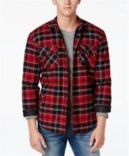 American Rag Mens Fleece Lined Plaid Shirt Jacket Deep Red Black L Work Shirt