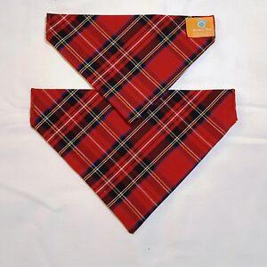 Red Tartan  Dog Bandana - slips onto your dogs collar - 2 sizes available