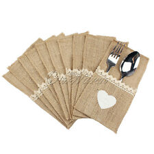 10X Hessian Burlap Lace Heart Cutlery Holder Pouch Bag Wedding Table Decoration