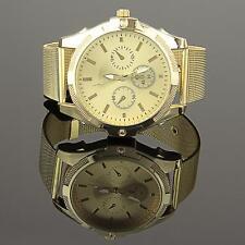 B-Ware Damenuhr Gold Damen Milanaise Armbanduhr Edehlstahl Analog U1387L