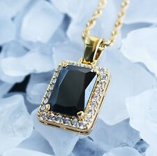 Mens Mini Hip Hop Ruby Black Onyx Square Pendant And Chain Necklace