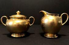 Vintage Wheeling Gold China Sugar & Creamer Floral 22 K Gilded Gold