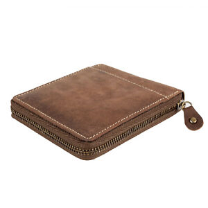 Mens Wallet Real Leather Zip-Around Hunter New in Gift Box Genuine Black Brown