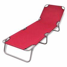 Outdoor Folding Recliner Sun Bed Lounge Pool Beach Chair Sunbake Deck Red Adjust