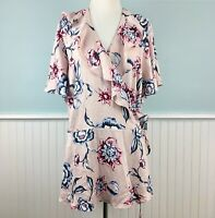 SIZE 20W Rachel Roy Pink Floral True Wrap Top Blouse Shirt Women's Plus 2X NWT
