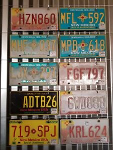 Mixed Lot Of 10 Expired New Mexico Craft License Plates