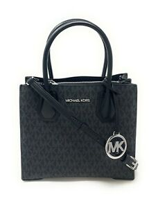 Michael Kors Satchel Medium Leather Mercer Messenger Handbag Crossbody