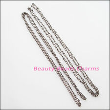 5Strands Necklaces Rings Chains Gunmetal Black For Jewelry Craft DIY 48cm