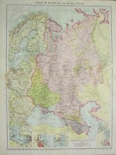 1934 LARGE MAP ~ RUSSIA IN EUROPE & BORDER STATES ~ ODESSA LENINGRAD KRONSTADT