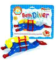 Clockwork Wind Up Swimming Diving Scuba Diver - Childrens Bath Toy Game 385-205