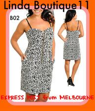 B02 New Ladies Black White Size 16/18 Work Office Summer Beach Party Rose Dress