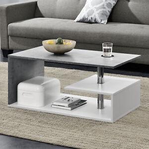 [en.casa] Couchtisch Weiß/Beton Tisch Beistelltisch Wohnzimmertisch Sofatisch